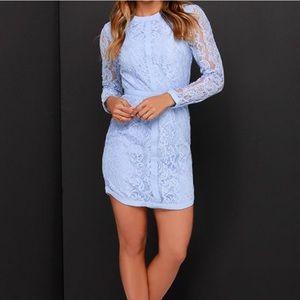 Gray Blue Lulus NWT lace long sleeve dress